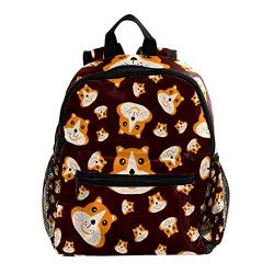 Rucksack für Mädchen Kinder Schultasche Kinder Büchertasche Frauen Casual Tagesrucksack Cartoon Tier Cartoon-Hundegesicht 25.4x10x30 CM/10x4x12 in von henghenghaha