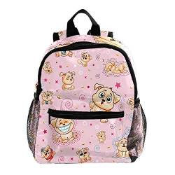 Rucksack für Mädchen Kinder Schultasche Kinder Büchertasche Frauen Casual Tagesrucksack Cartoon Tier Cartoon Welpen 25.4x10x30 CM/10x4x12 in von henghenghaha