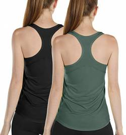 icyzone Damen Sport Yoga Tank Top Ringerrücken Gym Fitness Funktions Shirt 2er Pack (XL, Black/Smoke Pine) von icyzone
