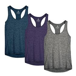 icyzone Damen Sporttop Yoga Tank Top Ringerrücken Oberteil Laufen Fitness Funktions Shirt (L, Royal Blue/Purple/Charcoal) von icyzone