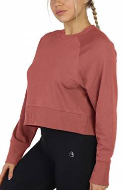 icyzone Damen Terry Cropped Crew Pullover Langarm Loose Sweatshirt (S, Dusty Pink) von icyzone