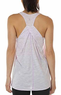 icyzone Damen Yoga Fitness Tank Top Lang - Training Jogging Ärmelloses Shirt Sport Oberteil Tops (M, Lilac) von icyzone