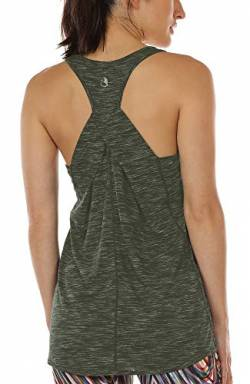 icyzone Damen Yoga Fitness Tank Top Lang - Training Jogging Ärmelloses Shirt Sport Oberteil Tops (Small, Army) von icyzone