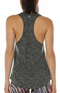 icyzone Damen Yoga Jogging Racerback Tank Top Atmungsaktive Workout Gym Shirt (XS, Charcoal) von icyzone