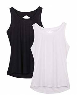 icyzone Damen Yoga Sport Tank Top - Rückenfrei Fitness Shirt Oberteil ärmellos Training Tops (XL, Black/White von icyzone