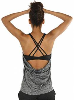 icyzone Damen Sport Yoga Top mit BH - 2 in 1 Fitness Shirt Cross Back BH Training Tanktop (M, Charcoal) von icyzone