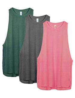 icyzone Damen Sport Tank Top Ringerrücken Yoga Fitness Shirt Loose Fit Sport Oberteile, 3er Pack (M, Army/Charcoal/Pink) von icyzone