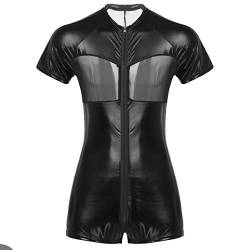 iiniim Herren Body Wetlook Unterhemd Lackleder Mesh Patchwork Ouvert-Body Catsuit Einteiler Männerbody Overall Party Clubwear Schwarz XXL von iiniim