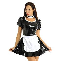 inlzdz Damen Dienstmädchen Kostüm Wetlook Lack Leder Kleider+ Schürze+Halsband French Maid Uniform Outfit Dessous Set Halloween Faschings Kostüm Schwarz 2XL von inlzdz