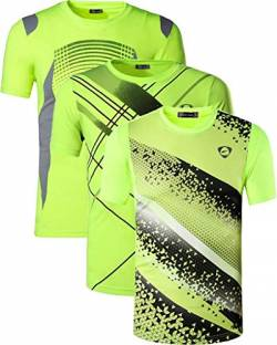 jeansian Herren 3 Packs Sport Slim Quick Dry Short Sleeves Compression T-Shirt Tee LSL133_194_231 GreenYellow L von jeansian
