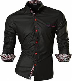 jeansian Herren Freizeit Hemden Slim Long Sleeves Casual Shirts Dress Shirts Tops Z027_Black_M von jeansian