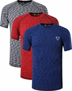 jeansian Herren 3 Packs Sport Slim Quick Dry Short Sleeves Compression T-Shirt Tee LSL205 PackA S von jeansian