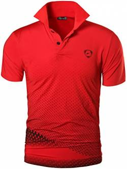 jeansian Herren Summer Sportswear Wicking Breathable Short Sleeve Quick Dry Polo T-Shirts Tops LSL195 Red L von jeansian