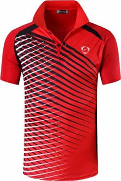 jeansian Herren Summer Sportswear Wicking Breathable Short Sleeve Quick Dry Polo T-Shirts Wicking Breathable Running Training Sports Tee Tops LSL243 Red M von jeansian