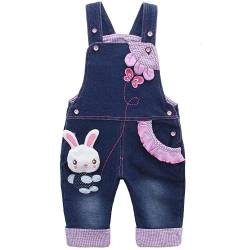 Kidscool Baby Girls Casual Soft Denim Overalls Kaninchen, Blau, 6-12 Monate von KIDSCOOL SPACE