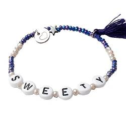 lua accessories - Armband Damen - elastisches Perlenarmband - Buchstabenperlen - ABC (sweety) von lua accessories
