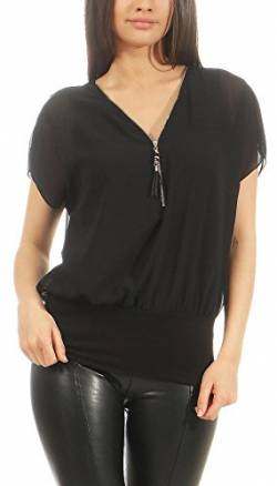 Malito Damen Kurzarm Bluse im Fledermaus Look | Tunika mit Zipper | T-Shirt mit breitem Bund | Shirt - elegant 6298 (schwarz) von malito more than fashion