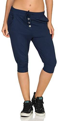Malito Damen Kurze Hose in Unifarben | Sporthose mit Knöpfen | Baggy zum Tanzen | Sweatpants - Trainingshose 8022 (dunkelblau) von malito more than fashion