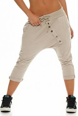 Malito Damen Kurze Hose mit Knopfleiste | Chino Hose in Unifarben | Baggy zum Tanzen | Sweatpants - Trainingshose 8015 (beige) von malito more than fashion