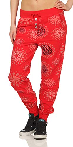 Malito Damen Sweatpants mit Print | Baggy zum Tanzen | Jogginghose mit Knopfleiste | Trainingshose 8027 (rot) von malito more than fashion