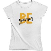 mamino Damen T Shirt -Be yourself T-Shirts weiß Damen Gr. 42 von mamino