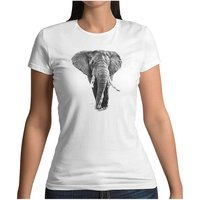 mamino Damen T Shirt -Elephant drawing T-Shirts weiß Damen Gr. 34 von mamino