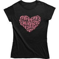 mamino Damen T Shirt -Happy mothers day T-Shirts schwarz Damen Gr. 34 von mamino