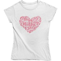 mamino Damen T Shirt -Happy mothers day T-Shirts weiß Damen Gr. 34 von mamino