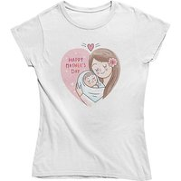 mamino Damen T Shirt -Happy mothers day T-Shirts weiß Damen Gr. 42 von mamino