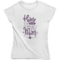 mamino Damen T Shirt -Home is where your mom is T-Shirts weiß Damen Gr. 38 von mamino