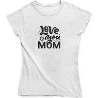 mamino Damen T Shirt -Love you mom T-Shirts weiß Damen Gr. 42 von mamino
