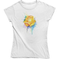 mamino Damen T Shirt -Painted rose yellow T-Shirts weiß Damen Gr. 36 von mamino