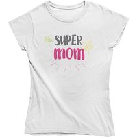 mamino Damen T Shirt -Super mom T-Shirts weiß Damen Gr. 36 von mamino