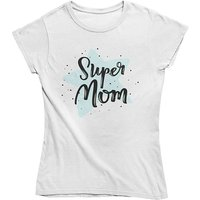 mamino Damen T Shirt -Super mom star T-Shirts weiß Damen Gr. 40 von mamino
