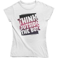 mamino Damen T Shirt -Think outside the box T-Shirts weiß Damen Gr. 34 von mamino