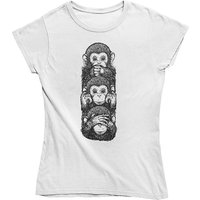 mamino Damen T Shirt -three wise monkeys T-Shirts weiß Damen Gr. 34 von mamino