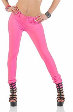 miss anna Treggings Jeggings Hüfthose Stretch Slimfit Leggings Hose Gr. XS S M L XL 2XL 3XL 4XL, H35 (S/36, Pink) von miss anna