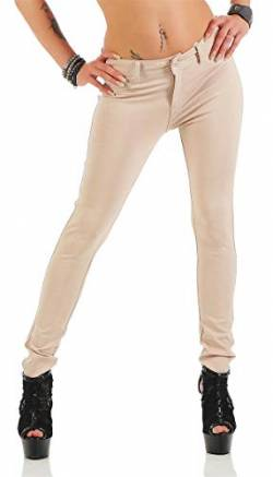 Treggings Jeggings Hüfthose Stretch Slimfit Leggings Hose Gr. XS S M L XL 2XL 3XL 4XL, H35 Beige L/40 von miss anna