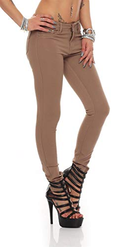 miss anna Treggings Jeggings Hüfthose Stretch Slimfit Leggings Hose Gr. XS S M L XL 2XL 3XL 4XL, H35 Dunkelbeige L/40 von miss anna