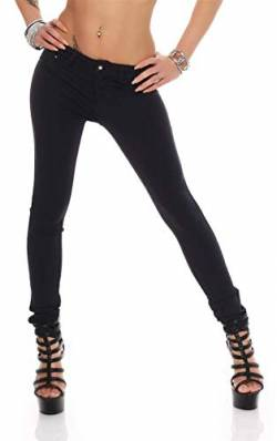 Treggings Jeggings Hüfthose Stretch Slimfit Leggings Hose Gr. XS S M L XL 2XL 3XL 4XL, H35 Dunkelblau XL/42 von miss anna