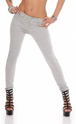 miss anna Treggings Jeggings Hüfthose Stretch Slimfit Leggings Hose Gr. XS S M L XL 2XL 3XL 4XL, H35 Grau Meliert L/40 von miss anna