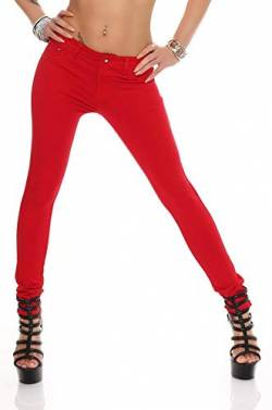 miss anna Treggings Jeggings Hüfthose Stretch Slimfit Leggings Hose Gr. XS S M L XL 2XL 3XL 4XL, H35 Rot L/40 von miss anna