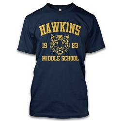 net-shirts Hawkins Middle School T-Shirt Eleven Upside Down T-Shirt Inspired by Stranger Things, Größe L, Navy von net-shirts