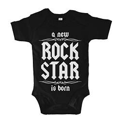 net-shirts Organic Baby Body mit A New Rock Star is Born Aufdruck Rock n Roll Heavy Metal Strampler Babybekleidung aus Bio-Baumwolle mit Zertifikat, Größe 0-3 Monate, Schwarz von net-shirts