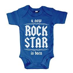 net-shirts Organic Baby Body mit A New Rock Star is Born Aufdruck Rock n Roll Heavy Metal Strampler Babybekleidung aus Bio-Baumwolle mit Zertifikat, Größe 3-6 Monate, Royalblau von net-shirts
