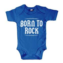 net-shirts Organic Baby Body mit Born to Rock Aufdruck Rock n Roll Heavy Metal Strampler Babybekleidung aus Bio-Baumwolle mit Zertifikat, Größe 3-6 Monate, Royalblau von net-shirts
