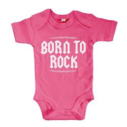 net-shirts Organic Baby Body mit Born to Rock Aufdruck Rock n Roll Heavy Metal Strampler Babybekleidung aus Bio-Baumwolle mit Zertifikat, Größe 6-12 Monate, pink von net-shirts