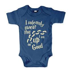 net-shirts Organic Baby Body mit Up to no Good Aufdruck Spruch lustig Strampler Babybekleidung aus Bio-Baumwolle mit Zertifikat Inspired by Harry Potter, Größe 6-12 Monate, Navy von net-shirts