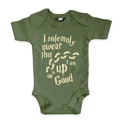 net-shirts Organic Baby Body mit Up to no Good Aufdruck Spruch lustig Strampler Babybekleidung aus Bio-Baumwolle mit Zertifikat Inspired by Harry Potter, Größe 6-12 Monate, Oliv von net-shirts