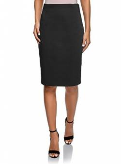 oodji Collection Damen Gerader Rock mit Hoher Taille, Schwarz, DE 36 / EU 38 / S von oodji Collection